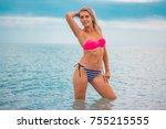 slim body lady outdoor portrait.   Shutterstock . vector #755215555