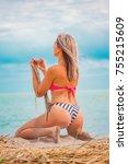 slim body lady outdoor portrait.   Shutterstock . vector #755215609