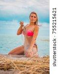 slim body lady outdoor portrait.   Shutterstock . vector #755215621