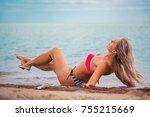 slim body lady outdoor portrait.   Shutterstock . vector #755215669