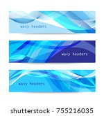vector set of abstract blue... | Shutterstock .eps vector #755216035