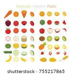 isometric fruits and vegetable... | Shutterstock .eps vector #755217865