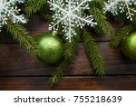 green living spruce branches on ... | Shutterstock . vector #755218639