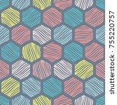 hexagon seamless pattern....   Shutterstock .eps vector #755220757