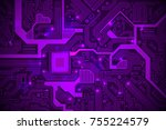 high tech electronic circuit... | Shutterstock .eps vector #755224579