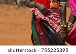 samburu women holding hands in... | Shutterstock . vector #755225395