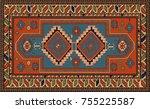 persian carpet  tribal vector... | Shutterstock .eps vector #755225587