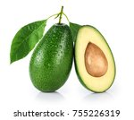 avocado with leaf isolated on... | Shutterstock . vector #755226319
