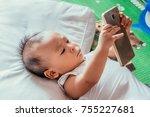 shot of little asian baby boy... | Shutterstock . vector #755227681