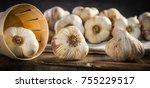 garlic cloves and garlic bulb... | Shutterstock . vector #755229517