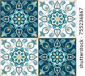 portuguese tile pattern vector...   Shutterstock .eps vector #755236867