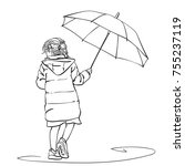 vector sketch of little girl... | Shutterstock .eps vector #755237119