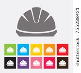 safety helmet icon   vector | Shutterstock .eps vector #755238421