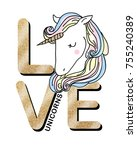 unicorn graphic for t shirt | Shutterstock . vector #755240389