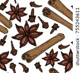 vintage hand drawn star anise ... | Shutterstock .eps vector #755243611