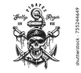 pirate skull emblem with swords ... | Shutterstock . vector #755244649
