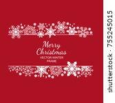 white snowflake frame ...   Shutterstock .eps vector #755245015