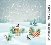 vector christmas winter... | Shutterstock .eps vector #755246251
