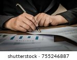 close up hands signing terms of ... | Shutterstock . vector #755246887
