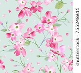 blooming spring flowers pattern ... | Shutterstock .eps vector #755248615
