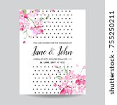 save the date card with spring... | Shutterstock .eps vector #755250211