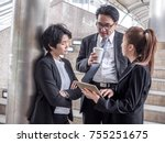 group of business people during ... | Shutterstock . vector #755251675