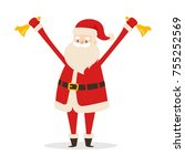 santa claus with two golden... | Shutterstock .eps vector #755252569