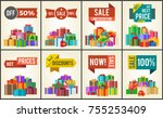 set of promo posters with... | Shutterstock .eps vector #755253409