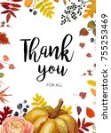 vector thank you greeting card  ... | Shutterstock .eps vector #755253469