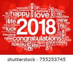 2018 year greeting word cloud... | Shutterstock .eps vector #755253745