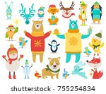 collection of animals and... | Shutterstock .eps vector #755254834