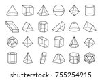 collection of three dimensional ... | Shutterstock .eps vector #755254915