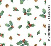 watercolor christmas seamless... | Shutterstock . vector #755257369
