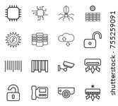 thin line icon set   chip ... | Shutterstock .eps vector #755259091