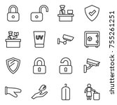 thin line icon set   lock ... | Shutterstock .eps vector #755261251