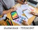 two young women working as... | Shutterstock . vector #755261347