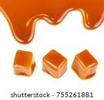 caramel candies and caramel... | Shutterstock . vector #755261881