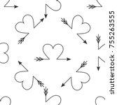 cupid arrow heart  valentines... | Shutterstock . vector #755263555