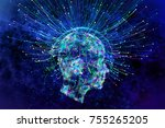 abstract glowing polygonal head ... | Shutterstock . vector #755265205