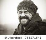 a laughing bearded mature man... | Shutterstock . vector #755271541
