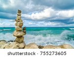 stones balance and wellness... | Shutterstock . vector #755273605