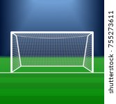 soccer goal on the stadium.... | Shutterstock .eps vector #755273611