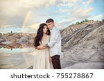 couple in love kissing and... | Shutterstock . vector #755278867