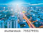 bangkok night cityscape with... | Shutterstock . vector #755279551
