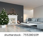 living room with fireplace in... | Shutterstock . vector #755280109