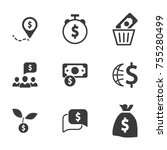 finance icons with money... | Shutterstock .eps vector #755280499