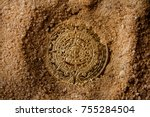 aztec coin laying in sand upper ... | Shutterstock . vector #755284504