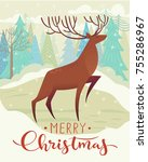 cute vector christmas holidays... | Shutterstock .eps vector #755286967
