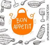 bon appetit. food card.... | Shutterstock .eps vector #755287204