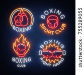 boxing sports club set of logos